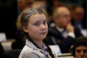 Sixteen year-old Swedish climate activist Greta Thunberg